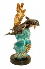 Mother and Child Copper Fill Dolphin Sculpture (Blue)